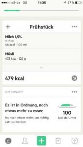 Der Screenshot zeigt das Ernährungstagebuch in der App: Lifesum.