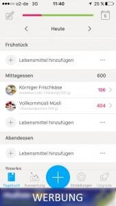 Der Screenshot zeigt das Ernährungstagebuch in der App: YAZIO.