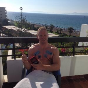 Marc trainiert sogar im Urlaub mit Compex